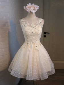 Adorable Champagne Sleeveless Lace and Appliques and Belt Mini Length