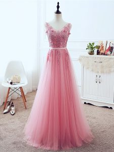 Pink Prom and Party and Military Ball and Sweet 16 with Lace and Appliques and Belt V-neck Sleeveless Lace Up