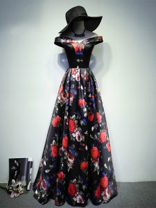 Popular Multi-color Evening Dress Prom and Military Ball and Beach with Ruching Off The Shoulder Sleeveless Lace Up