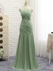 Lovely Chiffon Scoop Sleeveless Brush Train Zipper Ruching and Hand Made Flower in Olive Green