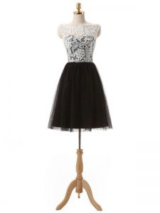 Mini Length Zipper Dress for Prom Black for Prom and Party and Sweet 16 with Lace and Appliques