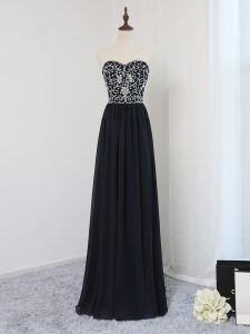 Black Sleeveless Chiffon Zipper Prom Gown for Prom and Party and Sweet 16 and Beach