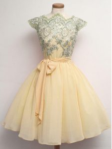 Customized Champagne Scalloped Lace Up Lace and Belt Vestidos de Damas Cap Sleeves