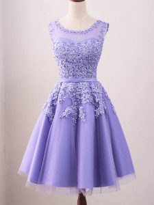Lavender Sleeveless Lace Knee Length Bridesmaid Dress