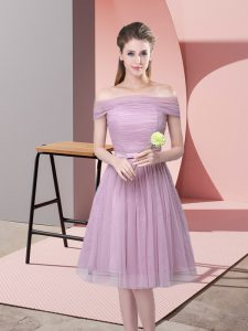 Beautiful Off The Shoulder Sleeveless Tulle Damas Dress Ruching and Belt Side Zipper