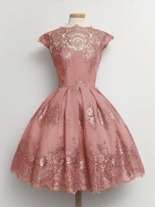 Fantastic Scalloped Cap Sleeves Bridesmaid Dresses Knee Length Lace Pink Tulle