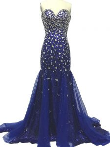 Dazzling Royal Blue Mermaid Tulle Sweetheart Sleeveless Beading Zipper Formal Evening Gowns Brush Train