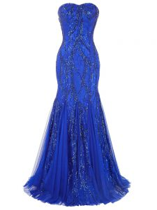 Sweetheart Sleeveless Tulle Formal Dresses Sequins Brush Train Lace Up