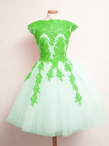 Sleeveless Mini Length Appliques Lace Up Bridesmaid Dresses with Multi-color