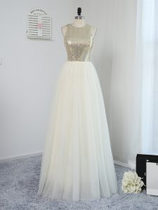 Graceful Empire Vestidos de Damas Light Yellow Scoop Tulle Sleeveless Floor Length Backless