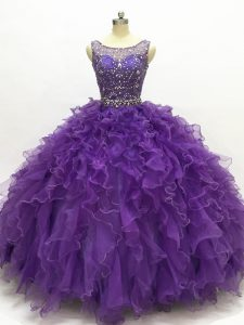 Inexpensive Purple Organza Lace Up Quinceanera Gown Sleeveless Floor Length Beading and Ruffles