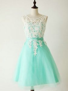 Turquoise Sleeveless Lace Knee Length Quinceanera Court Dresses