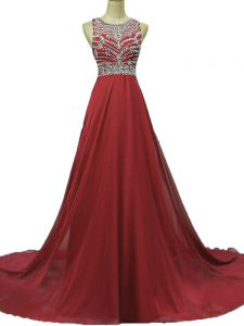 Fashion Backless Evening Dresses Burgundy for Prom and Party with Beading Brush Train