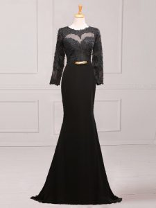 Sophisticated Black Long Sleeves Chiffon Brush Train Side Zipper Mother of Groom Dress for Prom and Party and Military Ball