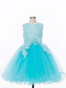 Fashion Sleeveless Zipper Knee Length Appliques and Hand Made Flower Flower Girl Dresses for Less