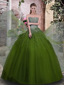 Floor Length Ball Gowns Sleeveless Olive Green Vestidos de Quinceanera Lace Up