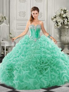 Luxury Apple Green Sleeveless Organza Court Train Lace Up 15th Birthday Dress for Military Ball and Sweet 16 and Quinceanera