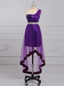 Attractive Purple Empire One Shoulder Sleeveless Tulle and Sequined Zipper Beading Homecoming Dress Online