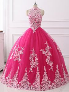 Sleeveless Tulle Floor Length Zipper Sweet 16 Dresses in Hot Pink with Lace