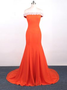 Orange Red Mermaid Lace and Appliques Evening Outfits Side Zipper Chiffon Sleeveless