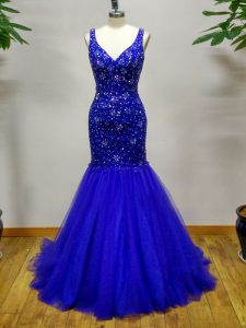 Royal Blue Tulle Criss Cross Sleeveless Brush Train Beading