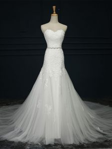 Sleeveless Court Train Lace and Belt Lace Up Wedding Gowns