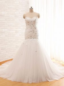 White Mermaid Sweetheart Sleeveless Tulle Brush Train Lace Up Beading and Appliques Bridal Gown