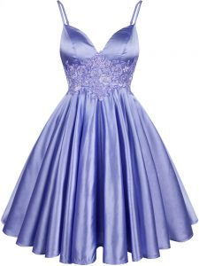 Light Blue Lace Up Spaghetti Straps Lace Dama Dress for Quinceanera Elastic Woven Satin Sleeveless