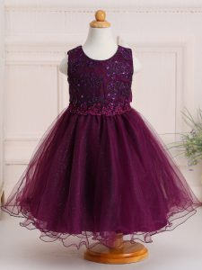 Exquisite Tulle Scoop Sleeveless Zipper Appliques Toddler Flower Girl Dress in Burgundy