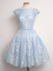 Shining Scalloped Cap Sleeves Lace Up Dama Dress for Quinceanera Light Blue Lace