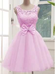 Fancy Scoop Sleeveless Tulle Quinceanera Dama Dress Lace and Bowknot Lace Up