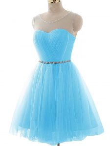 Shining Sleeveless Beading and Ruching Lace Up Dress for Prom