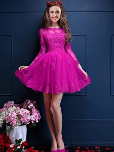 Decent Fuchsia Scalloped Lace Up Beading and Lace and Appliques Vestidos de Damas 3 4 Length Sleeve