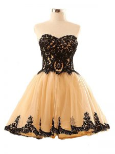 Flare Champagne Sweetheart Lace Up Appliques Homecoming Dresses Sleeveless