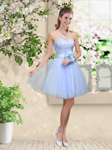 Low Price A-line Dama Dress Lavender Sweetheart Tulle Sleeveless Knee Length Lace Up