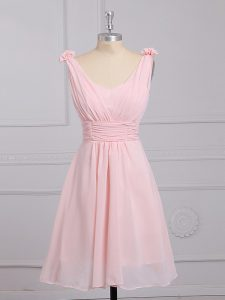 Sexy Baby Pink Straps Lace Up Hand Made Flower Damas Dress Sleeveless