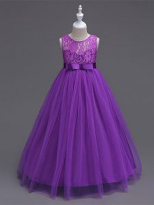 Wonderful Purple Little Girls Pageant Dress Wholesale Wedding Party with Lace Scoop Sleeveless Zipper