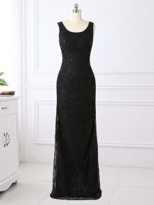 Black Lace Zipper Mother Dresses Long Sleeves Floor Length Lace
