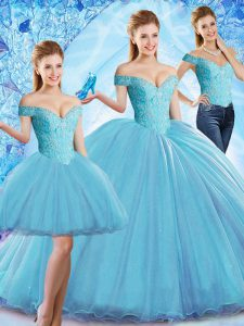 Baby Blue Three Pieces Off The Shoulder Sleeveless Organza Sweep Train Lace Up Beading Quinceanera Gowns