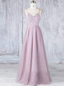 Perfect Pink Tulle Clasp Handle Dama Dress Sleeveless Floor Length Lace
