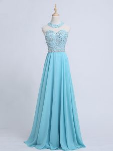 Captivating Aqua Blue Chiffon Zipper Evening Outfits Sleeveless Beading
