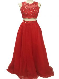 Edgy Red Zipper Prom Dress Beading and Appliques Sleeveless Sweep Train