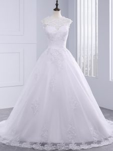 White Wedding Dress Beach and Wedding Party with Lace and Appliques and Bowknot High-neck Sleeveless Brush Train Zipper