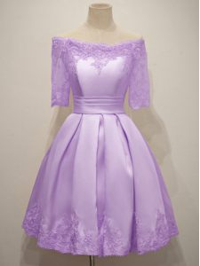 Sexy Off The Shoulder Short Sleeves Lace Up Quinceanera Court of Honor Dress Lavender Taffeta