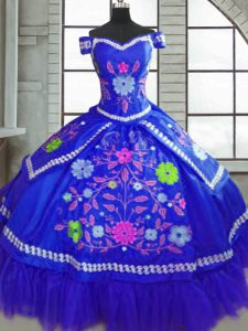 Traditional Blue Off The Shoulder Lace Up Beading and Embroidery Vestidos de Quinceanera Short Sleeves
