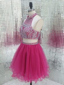Custom Design Mini Length Two Pieces Sleeveless Fuchsia Prom Evening Gown Backless