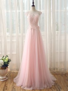 Traditional Baby Pink Damas Dress Prom and Party and Wedding Party with Beading and Lace Scoop Cap Sleeves Brush Train Zipper