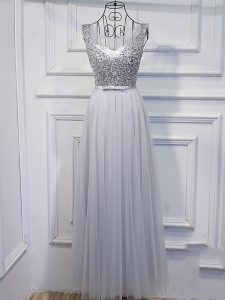 Empire Oscars Dresses Grey Scoop Tulle Sleeveless Floor Length Lace Up