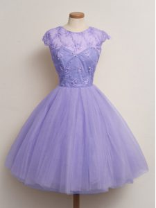 Lavender Tulle Lace Up Scoop Cap Sleeves Knee Length Quinceanera Court of Honor Dress Lace