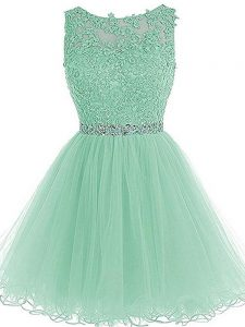 Mini Length Apple Green Prom Dresses Sweetheart Sleeveless Zipper